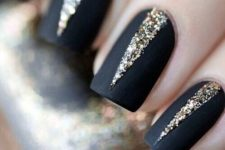 03 matte black nails with gold glitter geometric detailing with a wow factor