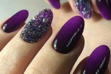 03 ombre deep violet nails with glitter and rhinestone accents for a party