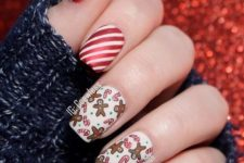 03 red and white striped nails with two accent nails with candy canes and gingerbread men