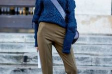 03 tan pants, white chelsea boots, a blue cable knit one shoulder sweater