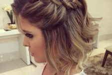 03 wavy short hair with a large braid on one side for a chic look