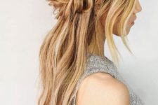 04 a half up fishtail braid hairstyle with bangs and hair down