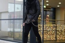 04 black jeans, black chelsea boots, a grey sweater, a black leather coat, scarf and beanie