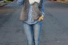 04 blue jeans, a plaid shirt, a brown faux fur vest, beige booties and a scarf