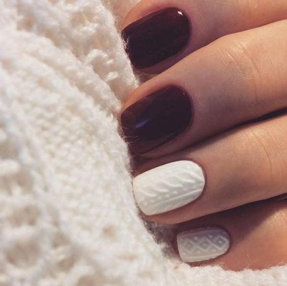 burgundy manicure with cable knit accent nails looks chic and bold