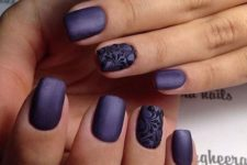 04 deep violet matte nails with an accent black lace nail look wow