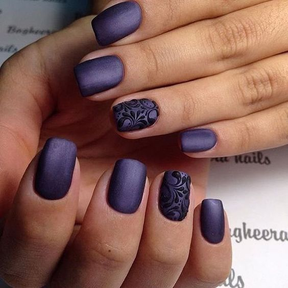 deep violet matte nails with an accent black lace nail look wow