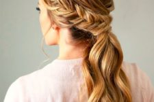 05 a braided low ponytail with some bangs is great as a casual hairstyle