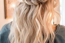05 a half updo with a double braid and beachy waves looks chic and cute