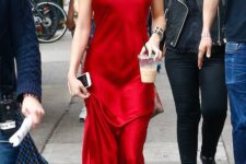 05 a red slip maxi dress, a pair of statement earrings and metallic shoes for a gorgeous look