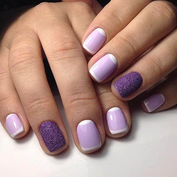 lilac French manicure with violet glitter accent nails for a fresh take on French nails