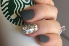06 a dark grey manicure with a glitter accent nail will do for any time in the fall and winter