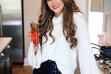 06 a navy sequin mini skirt, a fluffy white sweater with bell sleeves for a holiday feel