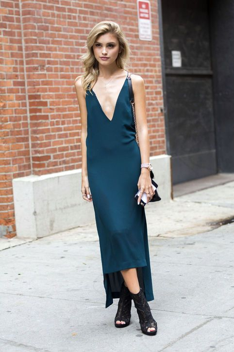 a teal slip dress with an asymmetric skirt and a plunging neckline plus sexy black lace peep toe booties