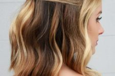 06 a wavy half up lob is a chic idea not only for a party but also for a date