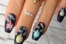 06 matte black nails with colorful Christmas ornaments on frosted branches