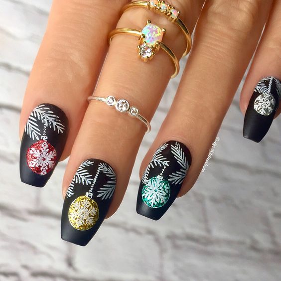Christmas Nails On Black Hands: Picture Of Matte Black Nails With Colorful Christmas