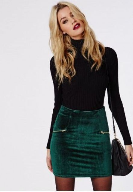 a black turtleneck, an emerald velvet mini skirt for a simple and sexy look