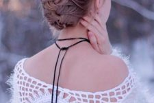 07 a simple braided updo is suitable even for not very long hair