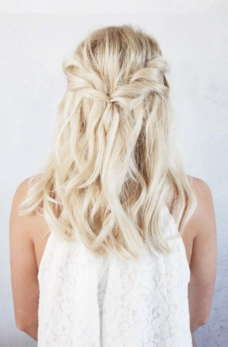 a twist half up braid with wavy hair down is easy to make and will take a couple of minutes
