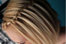 07 a waterfall braid on one side will make your short hairstyle cooler