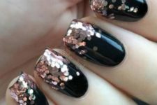 07 black nails with large copper glitter touches look chic and timeless