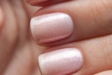07 chic shimmer nude nails look girlish and fit many occasions