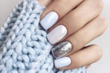 07 white nails with a silver leaf accent nail look very elegant and winter-like