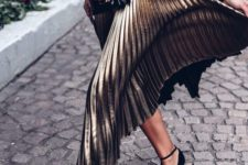 08 a black turtleneck, a metallic midi skirt and black suede strappy heels