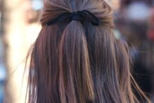 easy half updo hairstyle