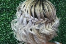 08 a waterfall braid with waves down looks very feminine and cute
