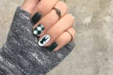 08 green nails with two accents – a deer head and a plaid nail