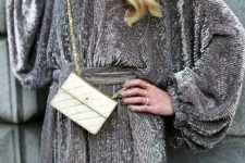 09 a grey sequin mini dress with wide sleeves and a sash looks stunning and is easy to style