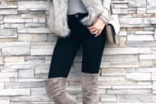 09 a grey top, a statement necklace, a faux fur vest, black skniies and dove grey boots