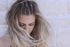 09 a top knot with three little braids and hair down looks very boho and cool