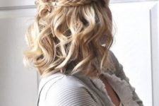 09 a wavy half updo with a braid is a chic idea for any girl