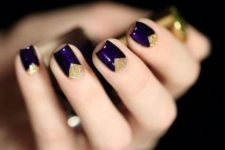 09 deep purple nails with gold glitter geometric detailing for a fun look