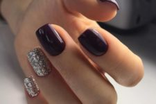 bold purple nails combined with glitter ones
