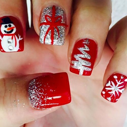 Picture Of Red Christmas Nails With A Snowman Gift Wrap Tree Snowflake And Glitter