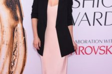 10 a blush slip dress, an oversized black blazer and a bold berry lip for a statement look