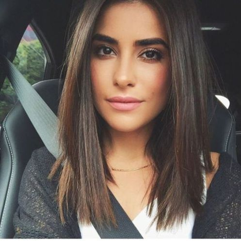 a layered long bob on straight smooth hair looks chic and needn't anything else