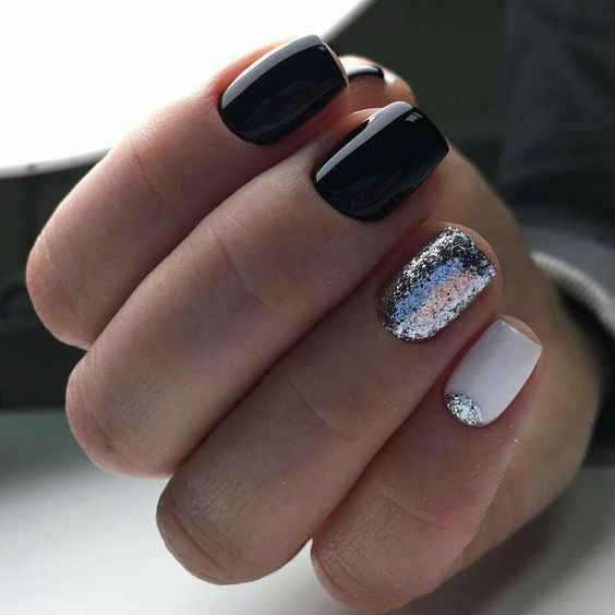 Picture Of Black And White Nails With A Silver Glitter Nail Half Moon Touch