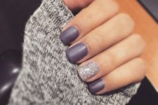 10 purple matte nails with a silver glitter accent nail look very chic and cool