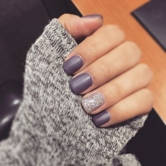 purple matte nails with a silver glitter accent nail look very chic and cool