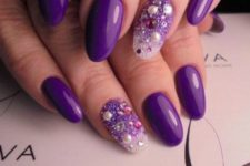 10 ultra-violet manicure with bold accent nails with rhinestones, pearls and sequins