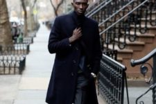 11 a black suit, a navy coat, brown leather shoes for a gorgeous exquisite look