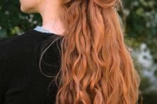11 a half updo with a braided top and waves is a timeless romantic hairstyle