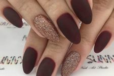 11 matte burgundy nails with copper glitter accent nails for Christmas