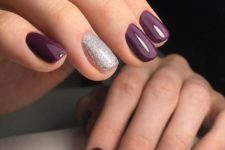 11 purple manicure with silver glitter accent nails look very chic