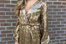 12 a V-neckline gold sequin wrap mini dress will fit any girl